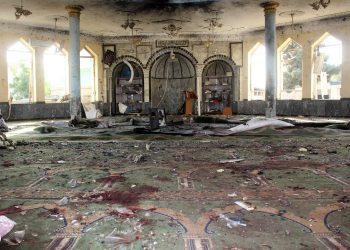 A view shows a mosque after a blast, in Kunduz, Afghanistan October 8, 2021. REUTERS/Stringer
